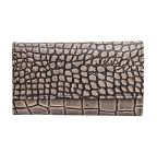 Black & Beige Croc Embossed Wallet